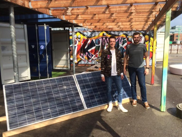Recycled solar panels at RCO location